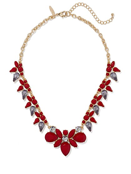 Red Teardrop-Bead Necklace  - New York & Company