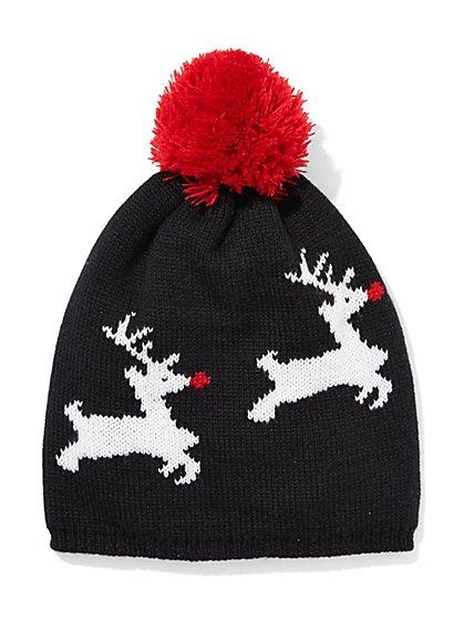 Reindeer Pom-Pom Hat  - New York & Company