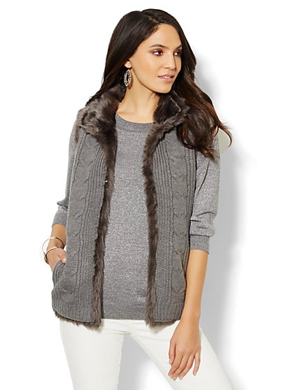 Reversible Faux-Fur Cable-Knit Vest - New York & Company