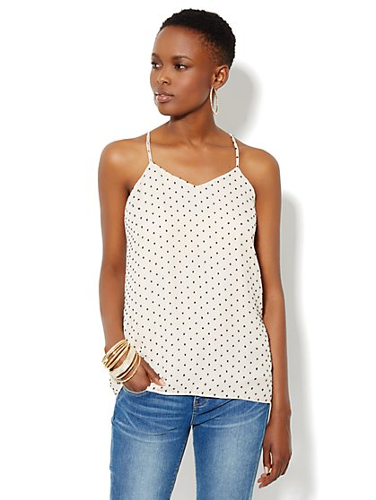 Reversible Halter Blouse - Clip Dot - New York & Company