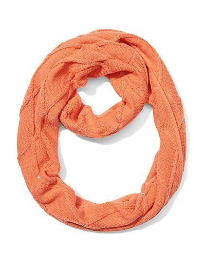 Rhinestone-Accent Infinity Knit Scarf - New York & Company