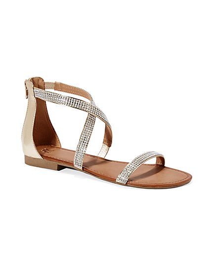 Rhinestone-Accent Strappy Sandal  - New York & Company
