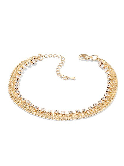Rhinestone Chain-Link Anklet  - New York & Company
