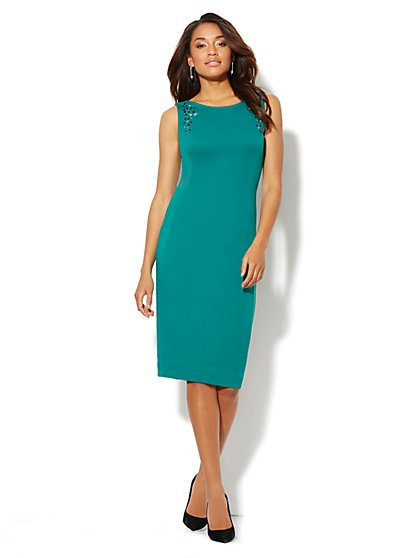 Rhinestone-Embellished Cotton Sheath Dress  - New York & Company