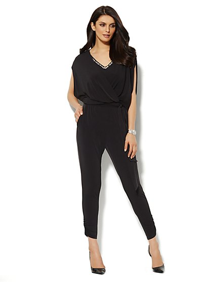 Rhinestone-Embellished Faux Wrap-Front Jumpsuit  - New York & Company
