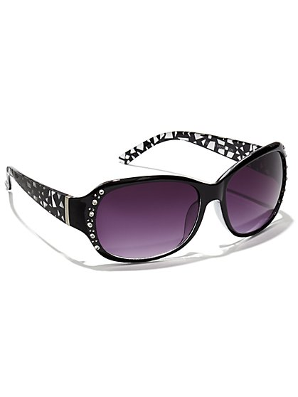 Rhinestone & Metallic Foil Sunglasses  - New York & Company