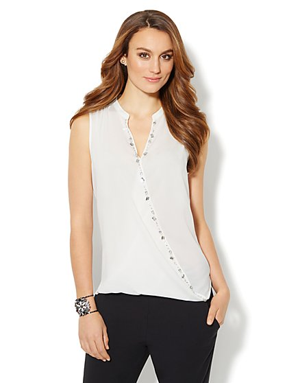 Rhinestone Sleeveless Wrap Blouse  - New York & Company