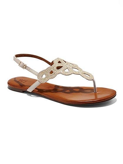 Rhinestone Thong Sandal  - New York & Company