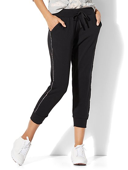 Rhinestone-Trim Cropped Jogger Pant - New York & Company