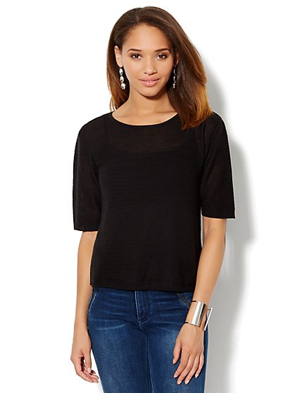 Ribbed Dolman-Sleeve Sweater - New York & Company
