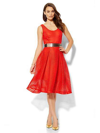 Ribbed Flare Dress - Petite  - New York & Company