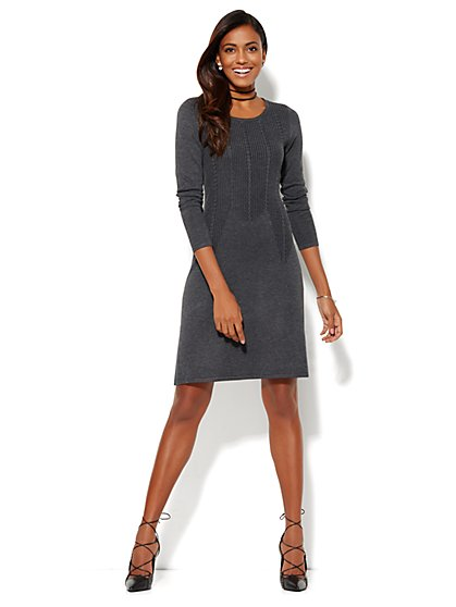 Ribbed Flare Sweater Dress  - New York & Company
