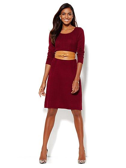 Ribbed Flare Sweater Dress  - New York & Company