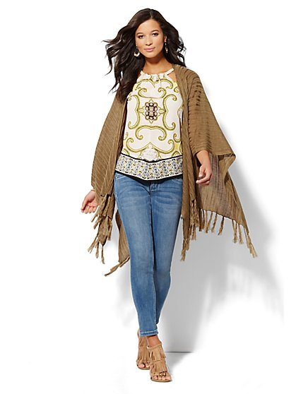 Ribbed Fringe Poncho - New York & Company