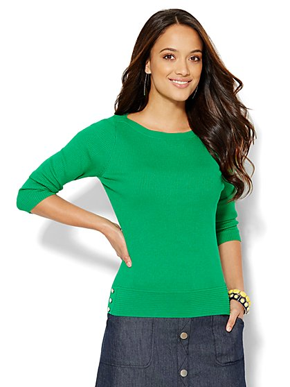 Ribbed-Knit Bateau-Neck Pullover  - New York & Company