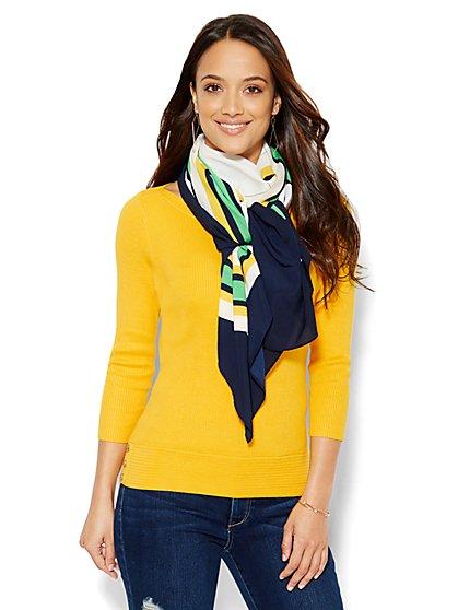 Ribbed-Knit Bateau-Neck Pullover  - New York & Company
