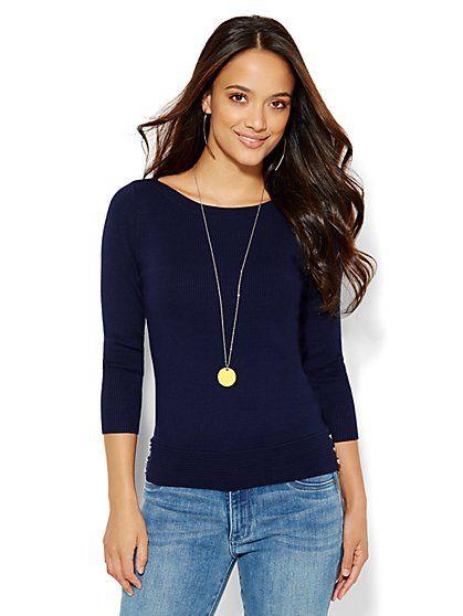 Ribbed-Knit Bateau-Neck Sweater  - New York & Company