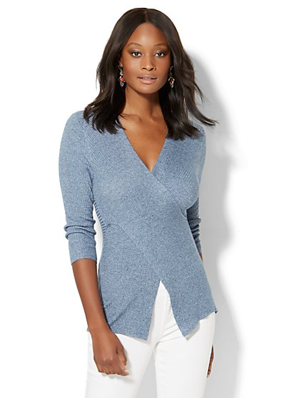 Ribbed-Knit Crossover Sweater - Heathered  - New York & Company