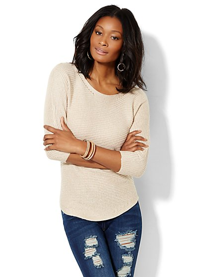 Ribbed-Knit Dolman Sweater  - New York & Company
