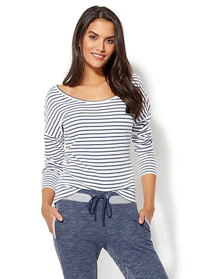 Ribbed-Knit Dolman Top - Stripe - New York & Company