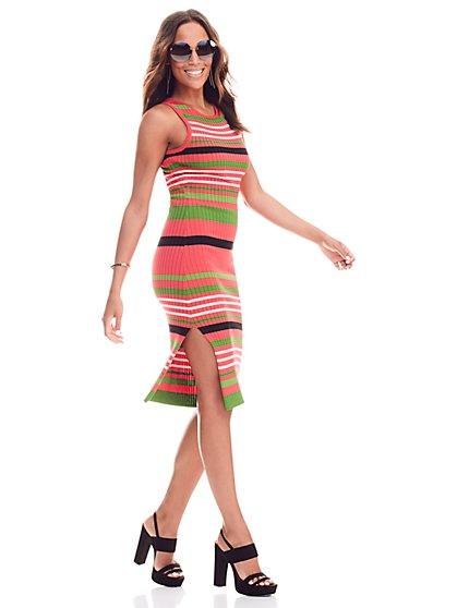 Ribbed Knit Dress - Stripe - Petite  - New York & Company