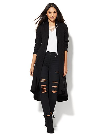 Ribbed-Knit Duster - Black  - New York & Company