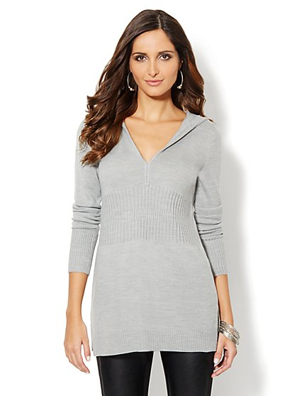 Ribbed-Knit Hooded Tunic Sweater - New York & Company
