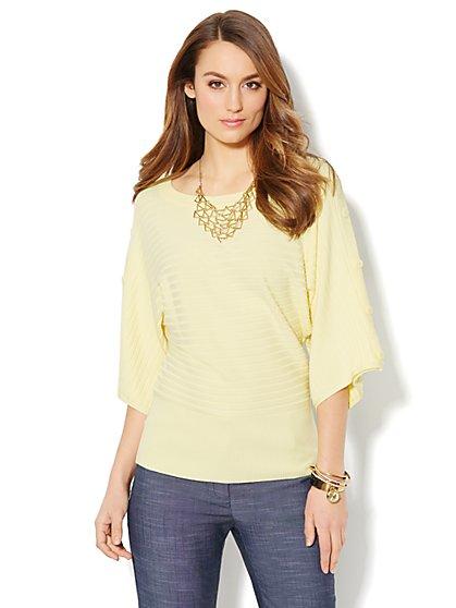 Ribbed-Knit Kimono-Sleeve Sweater  - New York & Company