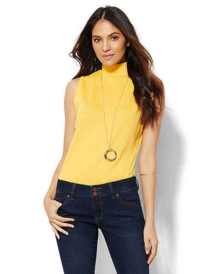 Ribbed-Knit Mock-Neck Top - New York & Company