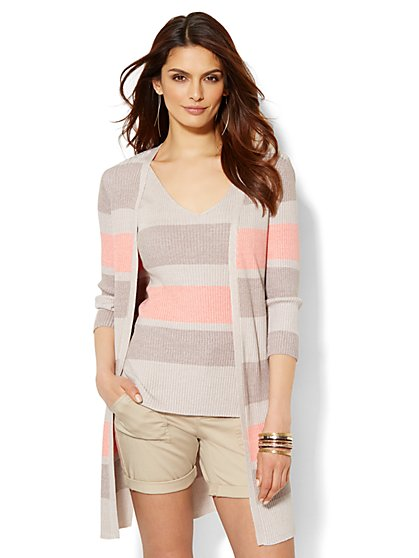 Ribbed-Knit Open Cardigan - Stripe  - New York & Company