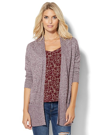 Ribbed-Knit Open-Front Cardigan - Marled  - Petite  - New York & Company