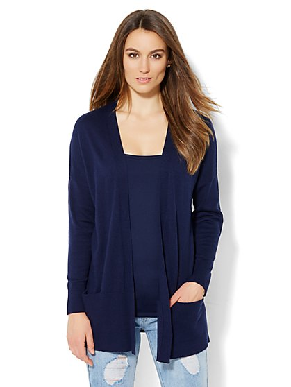 Ribbed-Knit Open-Front Cardigan  - New York & Company