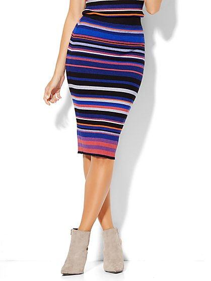 Ribbed-Knit Pencil Skirt - Stripe  - New York & Company