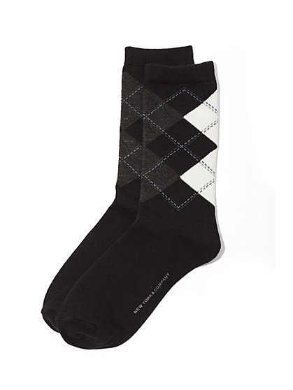 Ribbed-Knit Short Crewneck Sock - Argyle Print  - New York & Company