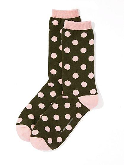 Ribbed-Knit Short Crewneck Sock - Polka Dot  - New York & Company