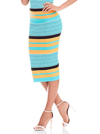 Ribbed Knit Skirt - Stripe  - New York & Company