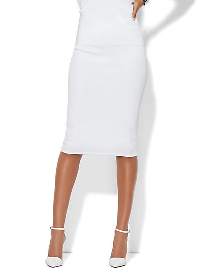 Ribbed Knit Skirt - White  - New York & Company