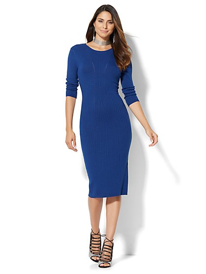 Ribbed-Knit Sweater Dress  - New York & Company
