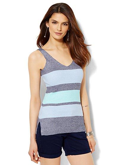 Ribbed-Knit Tank Top - Stripe  - New York & Company