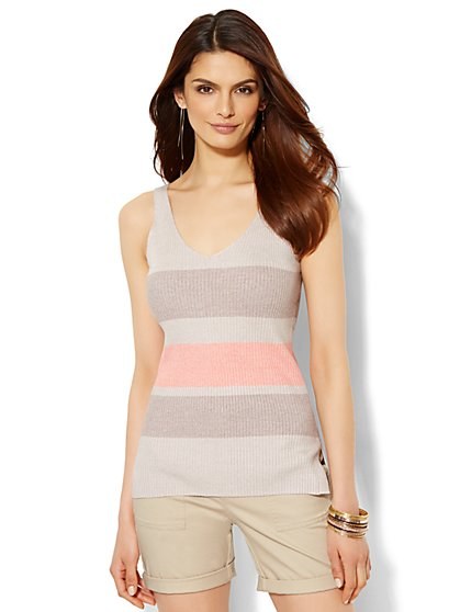 Ribbed-Knit Tank Top - Stripe  - New York & Company
