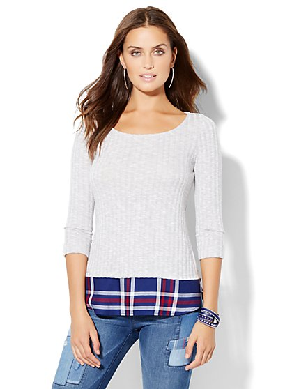 Ribbed-Knit Twofer - Plaid  - New York & Company