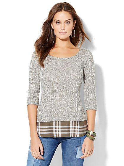 Ribbed-Knit Twofer Sweater - Plaid  - New York & Company