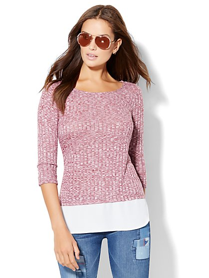Ribbed-Knit Twofer Sweater - New York & Company