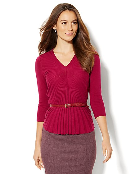 Ribbed-Knit V-Neck Sweater - New York & Company