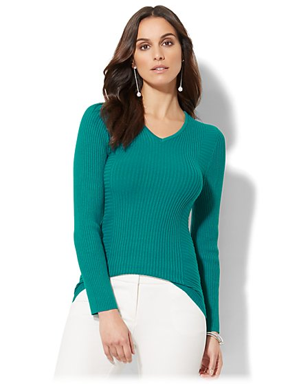 Ribbed-Knit V-Neck Sweater - New York & Company