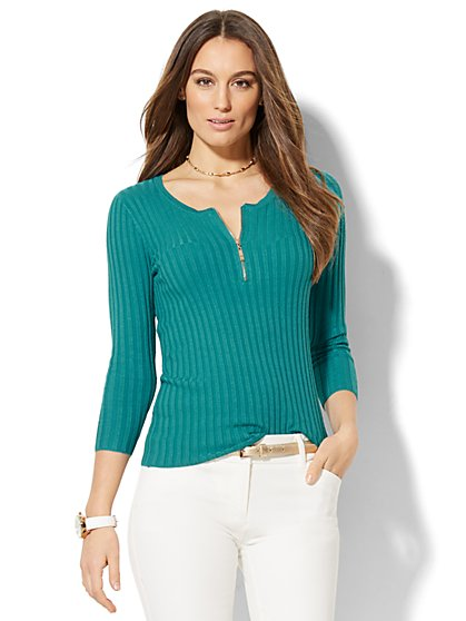 Ribbed-Knit Zip-Accent Sweater - New York & Company
