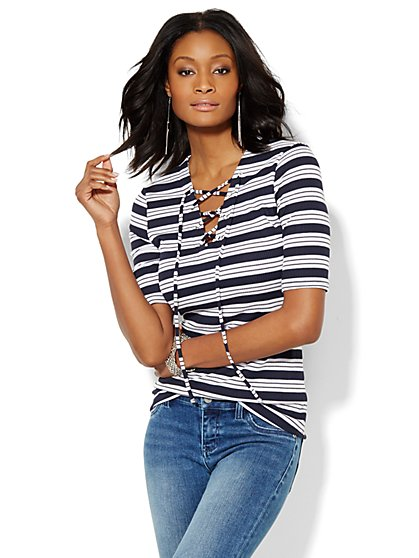 Ribbed Lace-Up Top - Stripe - New York & Company