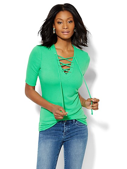 Ribbed Lace-Up Top - New York & Company
