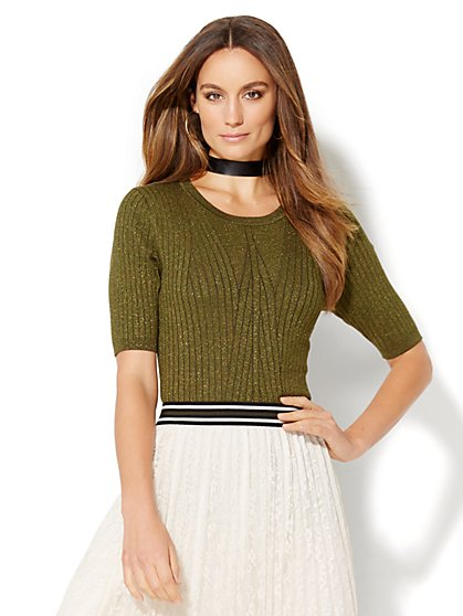 Ribbed Lurex Pullover Sweater  - New York & Company