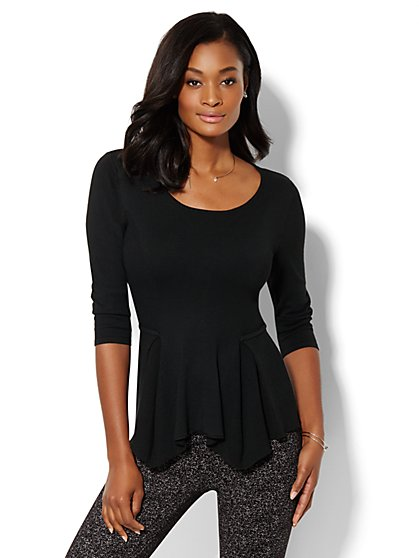 Ribbed Peplum Top  - New York & Company
